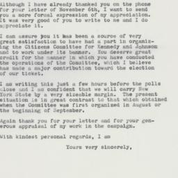 Letter: 1960 November 8