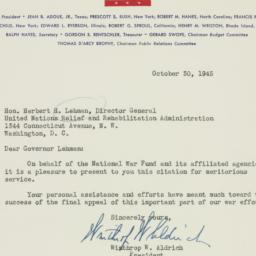 Letter: 1945 October 30