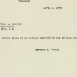 Telegram: 1948 April 6