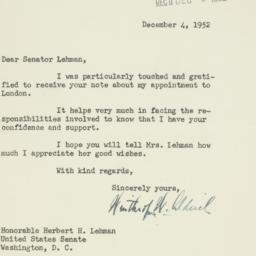 Letter : 1952 December 4