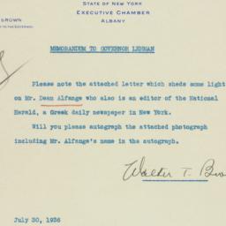 Memorandum: 1936 July 30