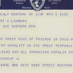 Telegram: 1936 November 4