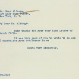 Letter: 1938 March 8