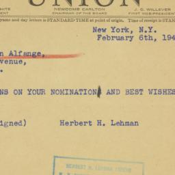 Telegram: 1941 February 6