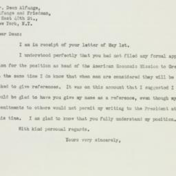 Letter: 1947 May 2