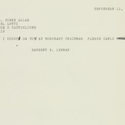Telegram : 1950 September 11