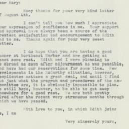 Letter : 1954 August 9