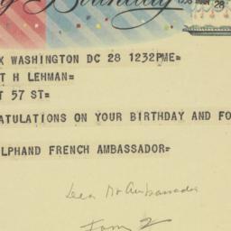Telegram : 1958 March 28