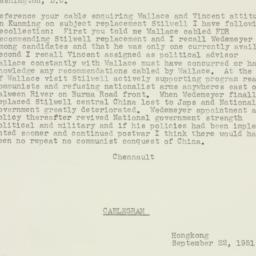 Telegram : 1951 September 22