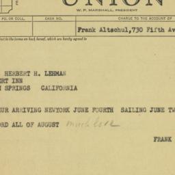Telegram: 1957 March 6