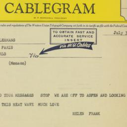 Telegram: 1958 July 3
