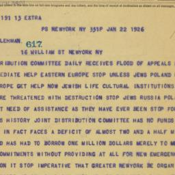 Telegram: 1926 January 22