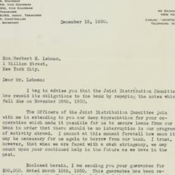 Letter : 1930 December 18