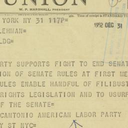 Telegram: 1952 December 31