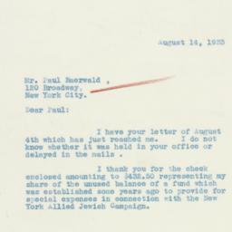 Letter : 1933 August 14
