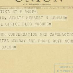 Telegram: 1953 January 9
