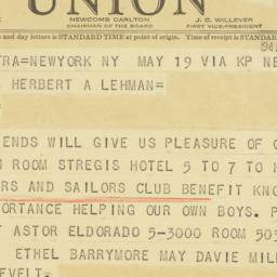 Telegram: 1941 May 20