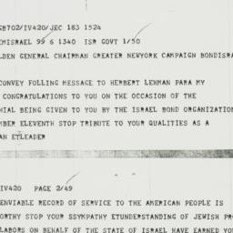 Telegram : 1958 November 6