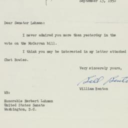 Letter: 1950 September 13