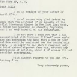 Letter: 1956 May 7