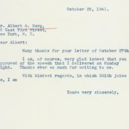 Letter: 1941 October 29