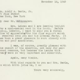 Letter: 1949 November 18