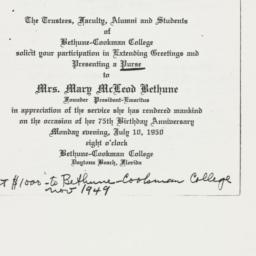 Invitation : 1950 July 10