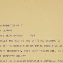 Telegram : 1950 September 8