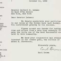 Letter : 1952 October 10
