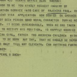 Telegram : 1956 April 18