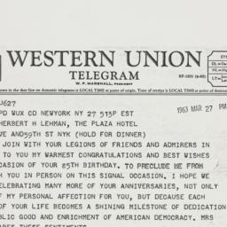Telegram: 1963 March 27
