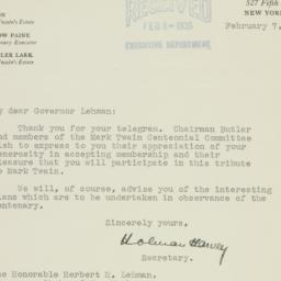 Letter: 1935 February 7