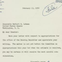 Letter : 1950 February 13