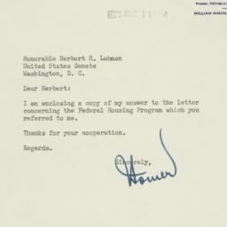 Letter: 1954 August 9
