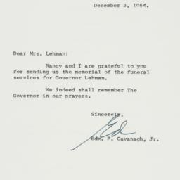Letter: 1964 December 2