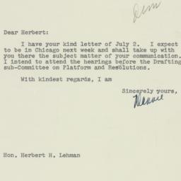 Letter: 1952 July 10