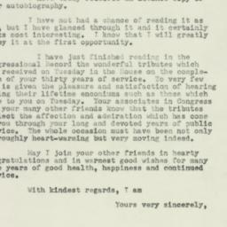 Letter : 1953 March 5
