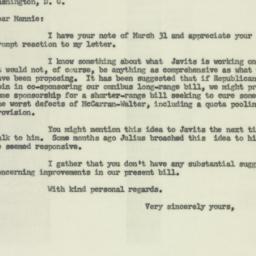Letter: 1954 April 2