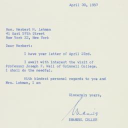 Letter : 1957 April 30