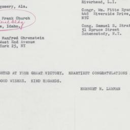 Telegram : 1962 November 8