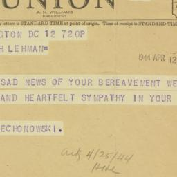 Telegram : 1944 April 12
