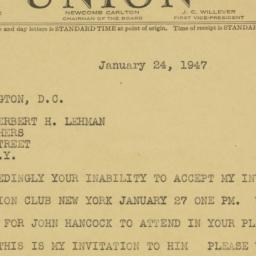 Telegram : 1947 January 24