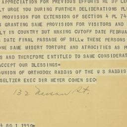 Telegram : 1950 April 17