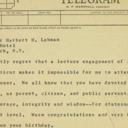 Telegram : 1958 March 29