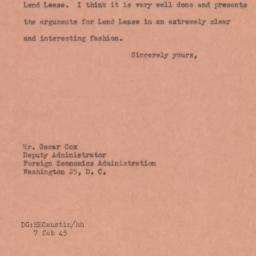 Letter : 1945 February 7