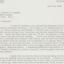 Letter : 1958 April 24