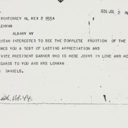 Telegram : 1936 July 2