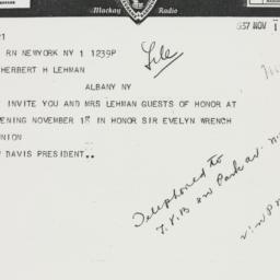 Telegram : 1937 November 1