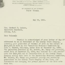 Letter : 1931 May 29