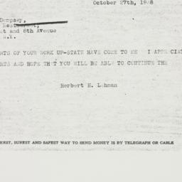 Telegram : 1938 October 27